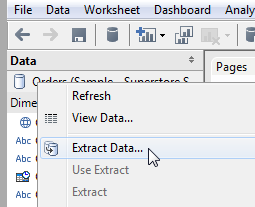 how to create tableau extract