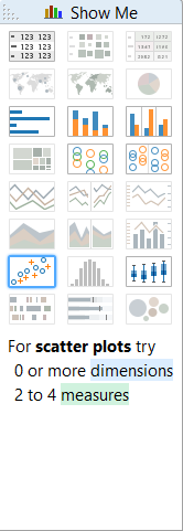 Show Me - scatter plots