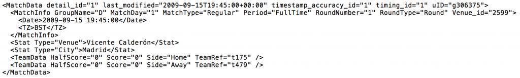 Opta XML Snippet