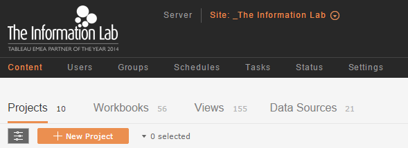 tableau server menu