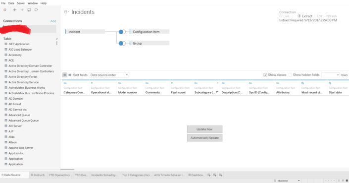 servicenow tableau connector data pane