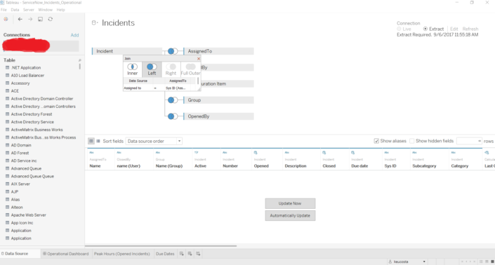 servicenow tableau connector data pane assigned to user table